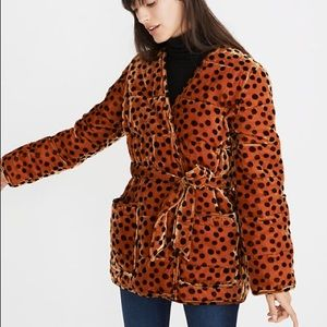 NEW Madewell Velvet Quilted Wrap Jacket Leopard